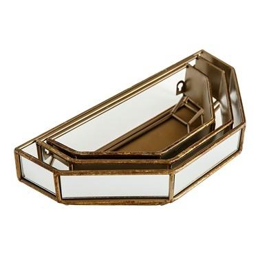 Vitale Gold 3Lü Dekoratif Raf Renkli
